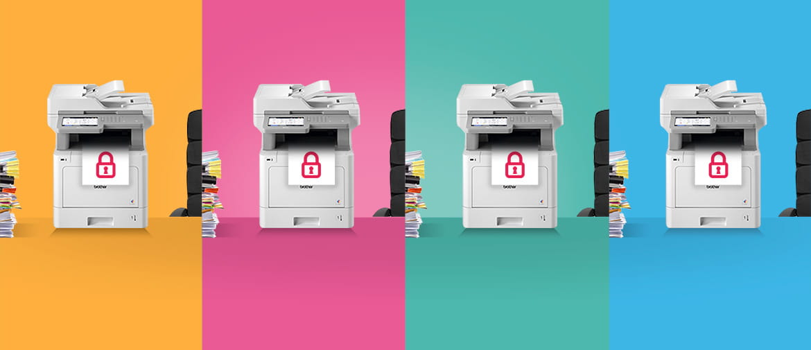 Four Brother office business printers against colourful orange, pink, green and blue backgrounds - each printing a document with a security padlock on it.
