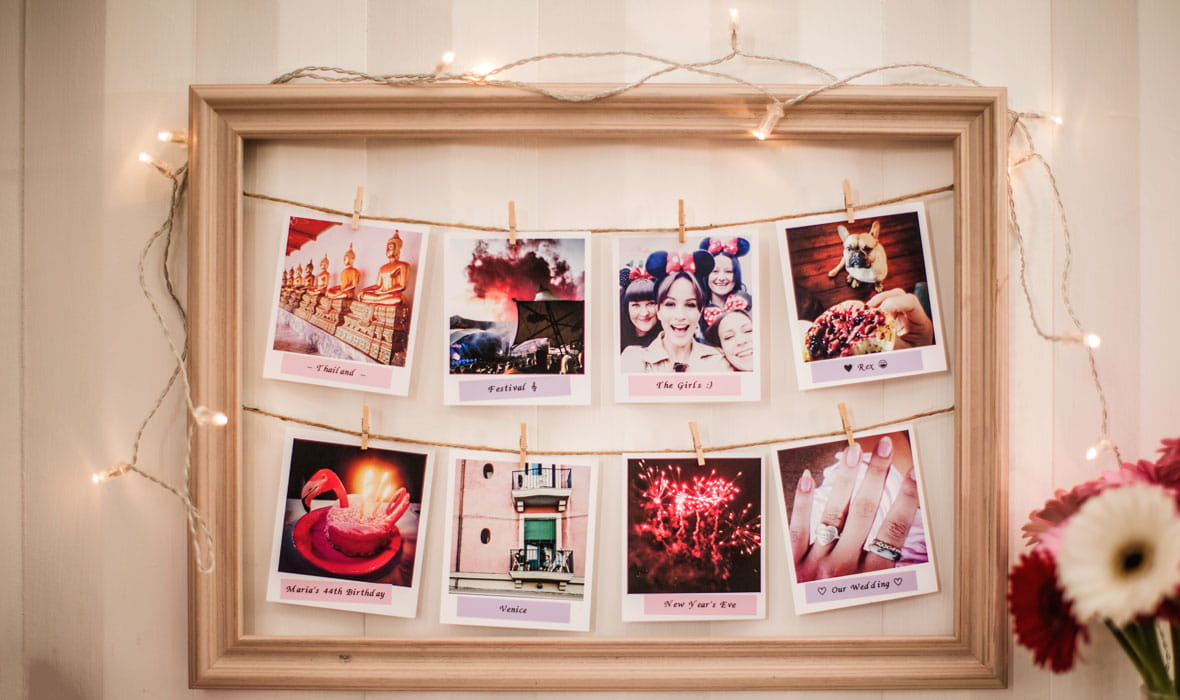 Photographs labelled with a Brother pastel pink label produced on a P-touch label printer