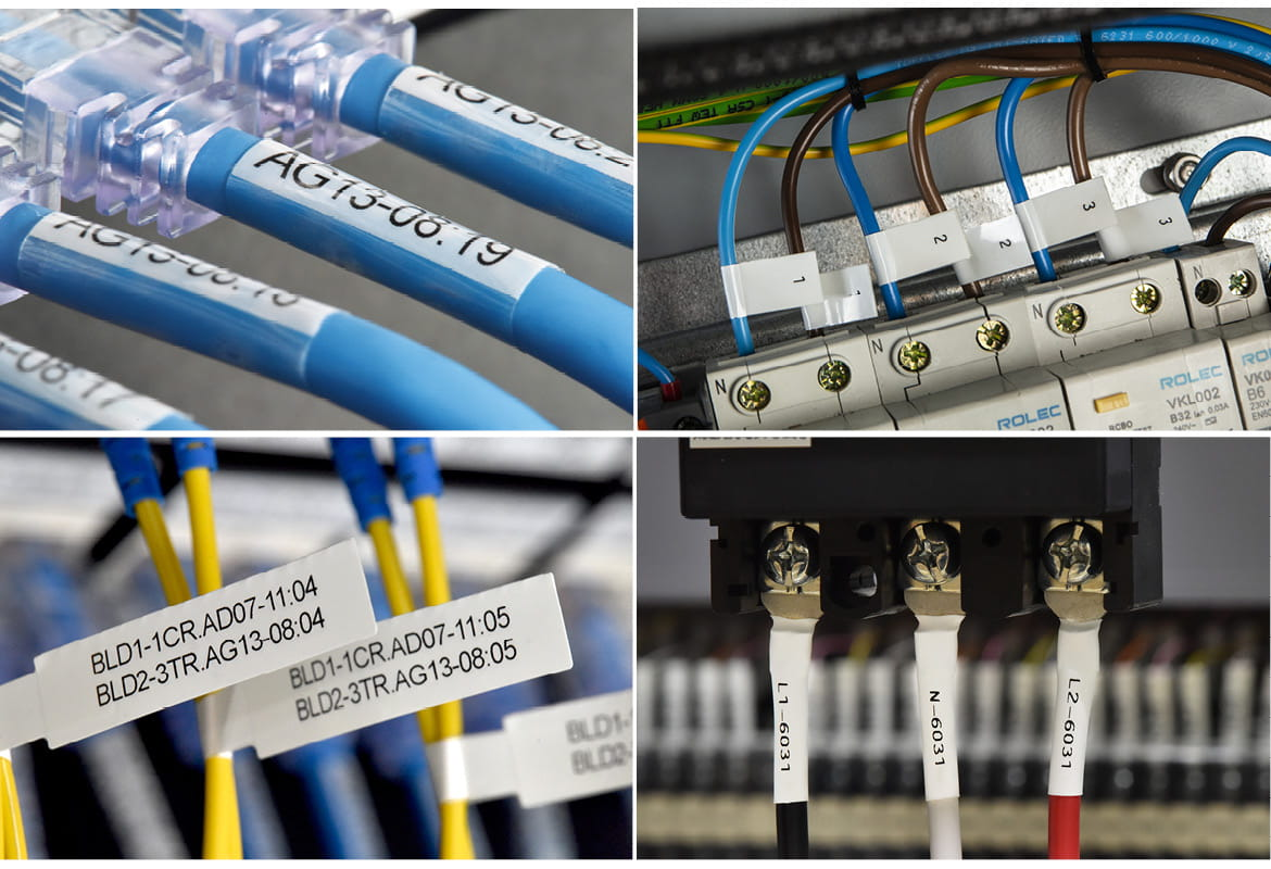 Four images of different Brother labels and heat shrink tube being used for cable identification