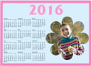 A full 2016 calendar with a smiling child on it