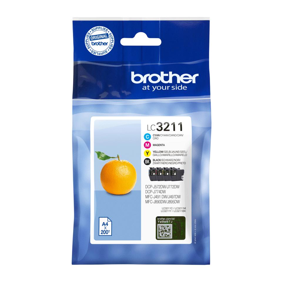 Oriģinālas Brother LC3211VAL tintes kasetnes - iepakojums