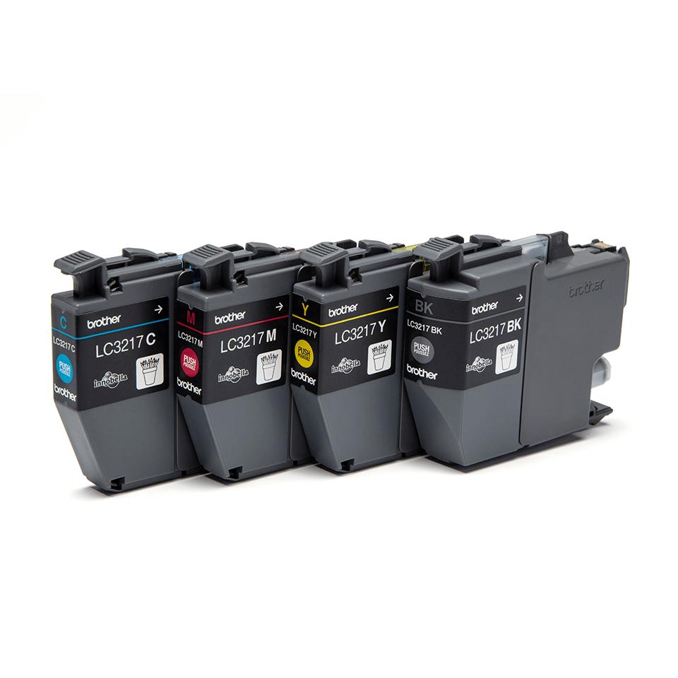 Oriģināls Brother LC3217VALDR tintes kasetņu iepakojums - melnas, ciāna, fuksīna un dzeltenas krāsas