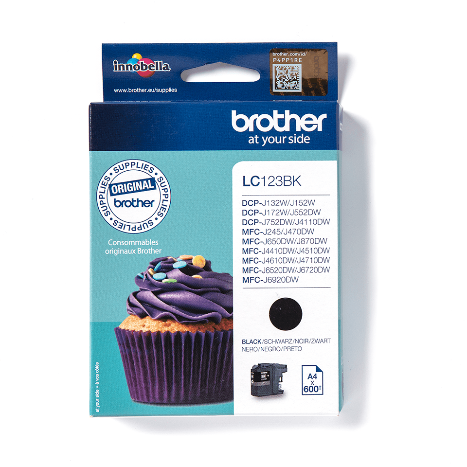 Oriģināla Brother LC123BK tintes kasetne – melna