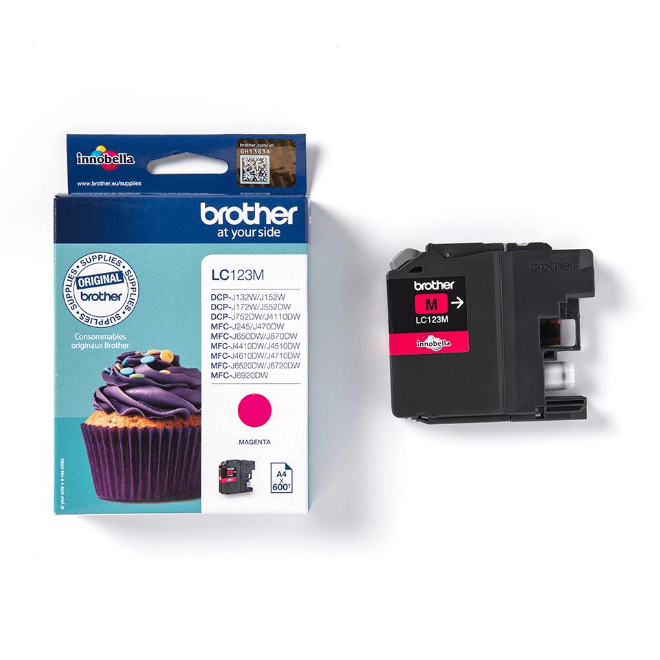 Oriģinālā Brother LC123M tintes kasetne - fuksīna krāsa 2