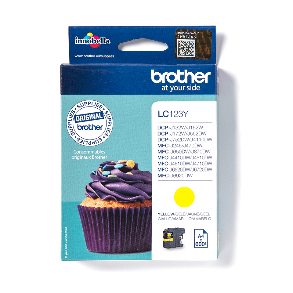 Oriģinālā Brother LC123Y tintes kasetne - dzeltena krāsa