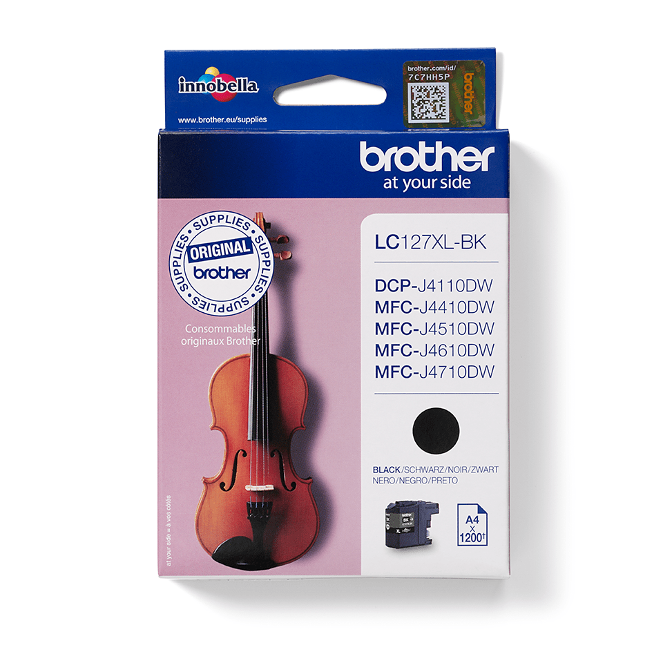 Oriģināla Brother LC127XLBK augstas ražības  tintes kasetne, melna