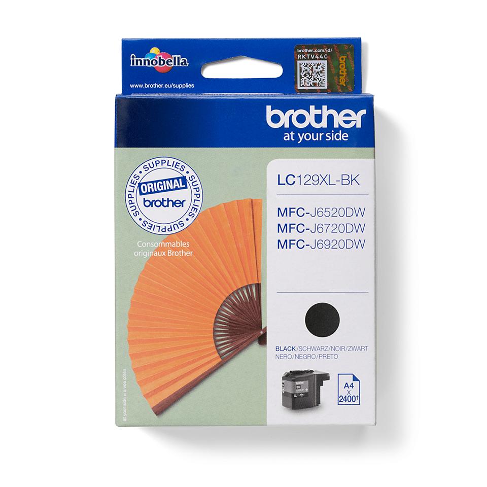 Oriģināla Brother LC129XLBK augsta ražīguma tintes kasetne - melna