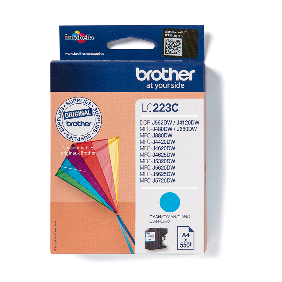 Oriģinālā Brother LC223C tintes kasetne – ciāna