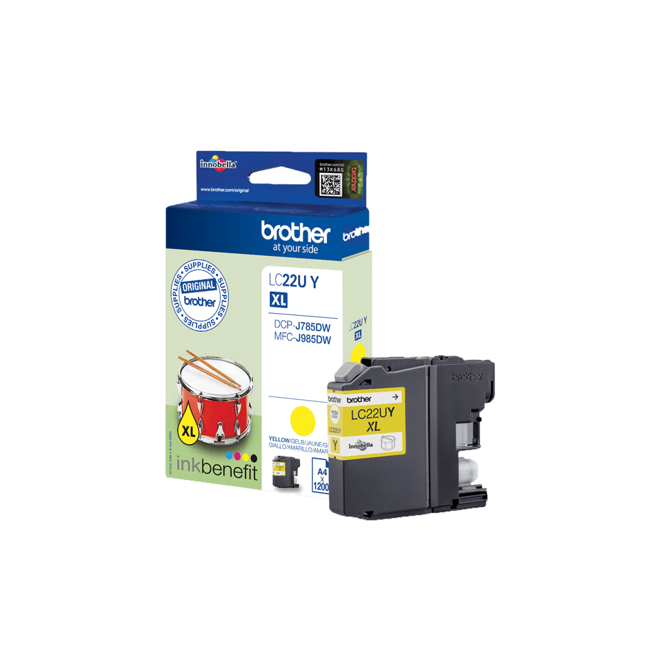 Oriģināla Brother LC22UY augsta ražīguma tintes kasetne – dzeltena