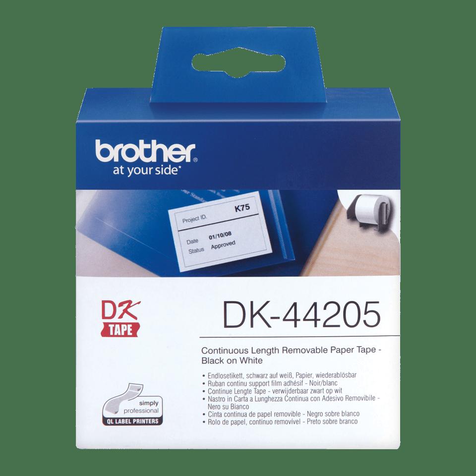 Oriģināls Brother DK-44205 vienlaidu garuma, papīra uzlīmju lentas rullis - melnas drukas, balta lenta - 62mm