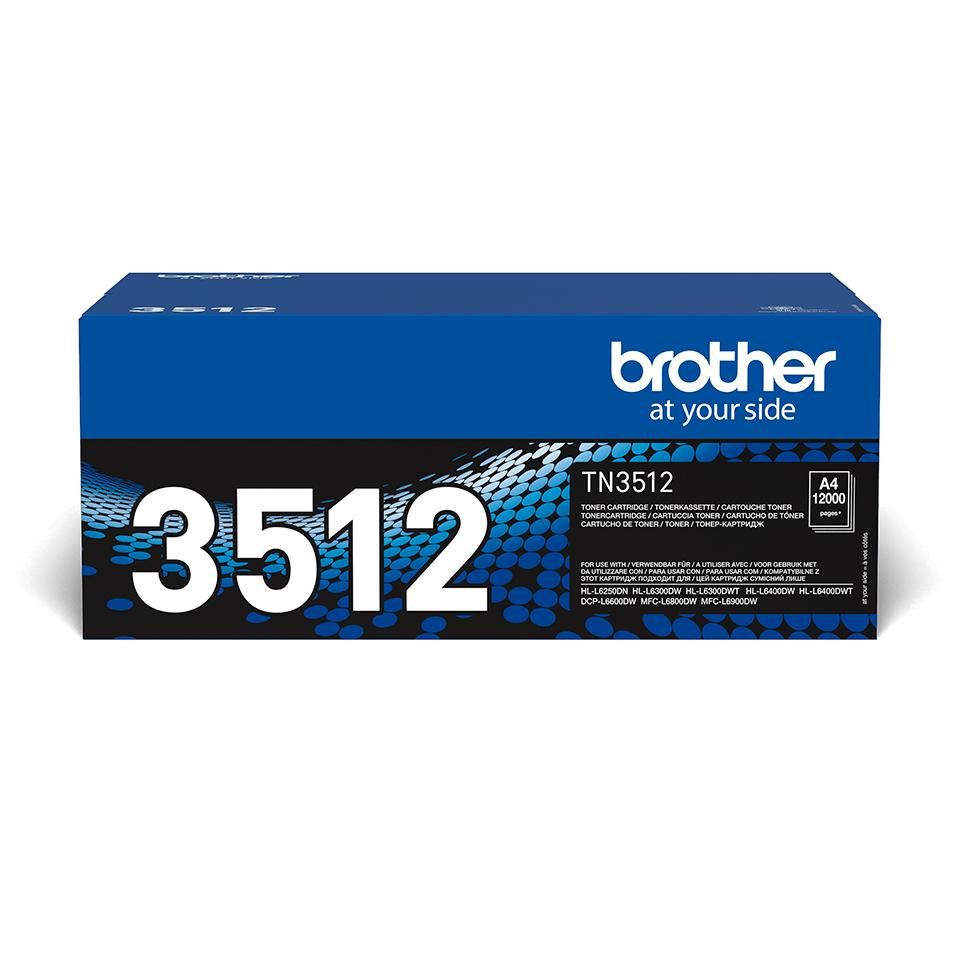 Oriģināla Brother augsta ražīguma TN3512 tonera kasetne – melna