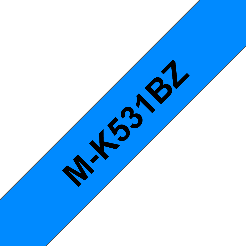 Genuine Brother M-K531BZ Labelling Tape Cassette – Black on Blue, 12mm wide