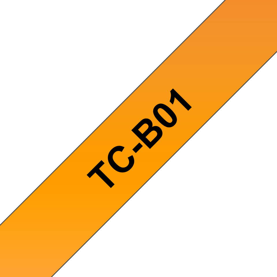 Genuine Brother TC-B01 Fluorescent Labelling Tape Cassette – Black on Orange, 12mm wide