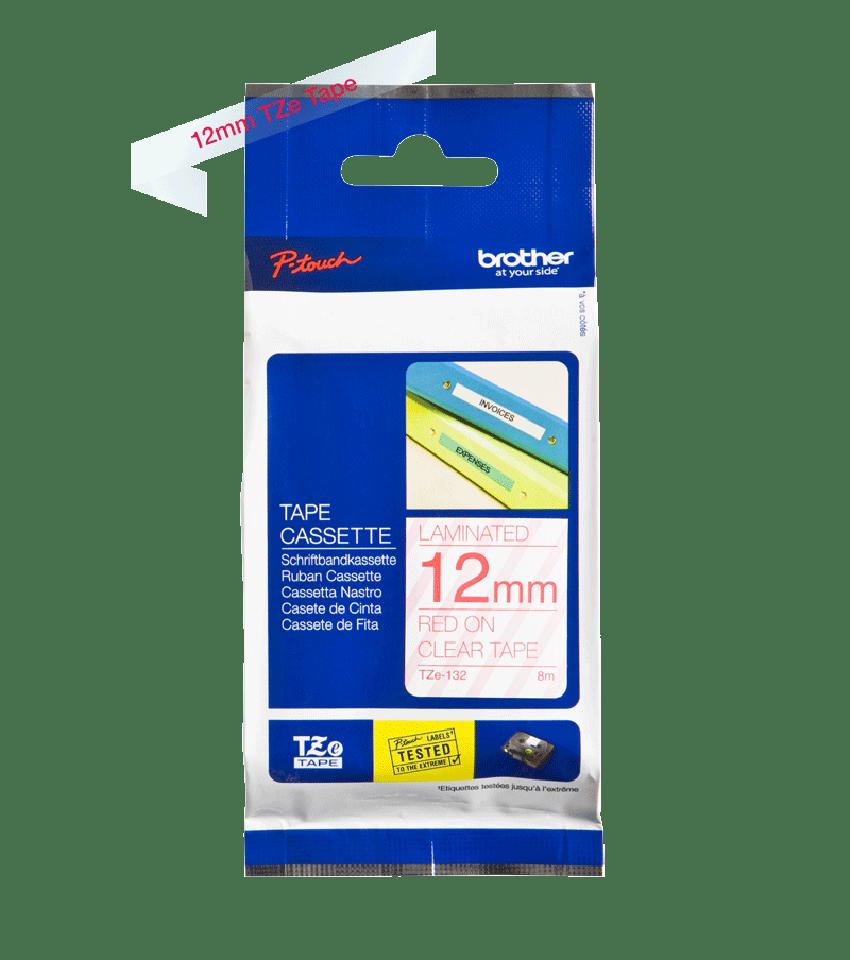 Oriģinālā Brother TZe132 sarkanas drukas caurspīdīga marķēšanas lentes kasete, 12mm plata 2
