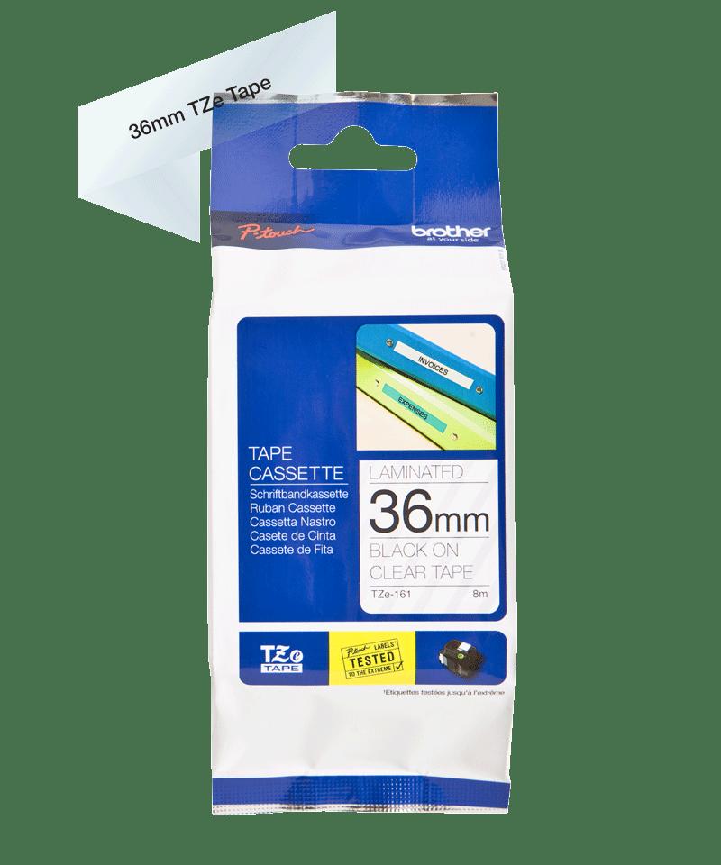 Oriģinālā Brother TZe161 melnas drukas caurspīdīga uzlīmju lentes kasetne, 36mm plata 2