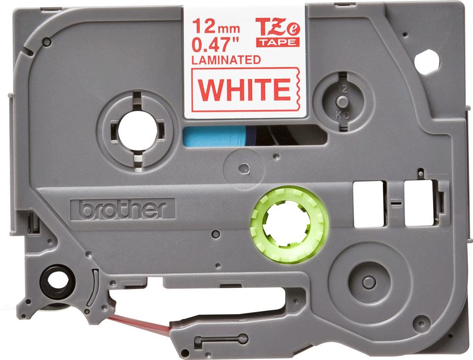 Oriģinālā Brother TZe232 sarkanas drukas balta uzlīmju lentes kasete, 12mm plata