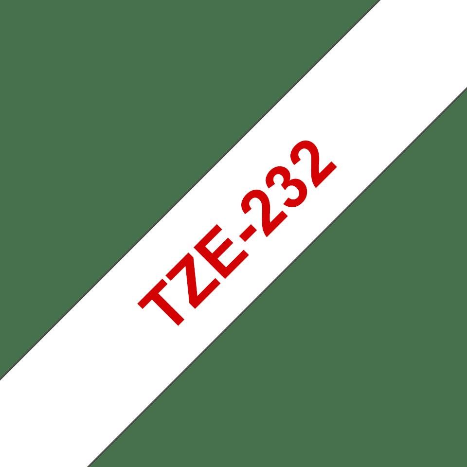 Oriģinālā Brother TZe232 sarkanas drukas balta uzlīmju lentes kasete, 12mm plata 3