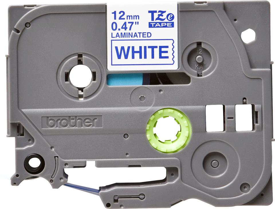 Oriģināla Brother TZe-233 uzlīmju lentes kasete – zilas drukas balta, 12mm plata