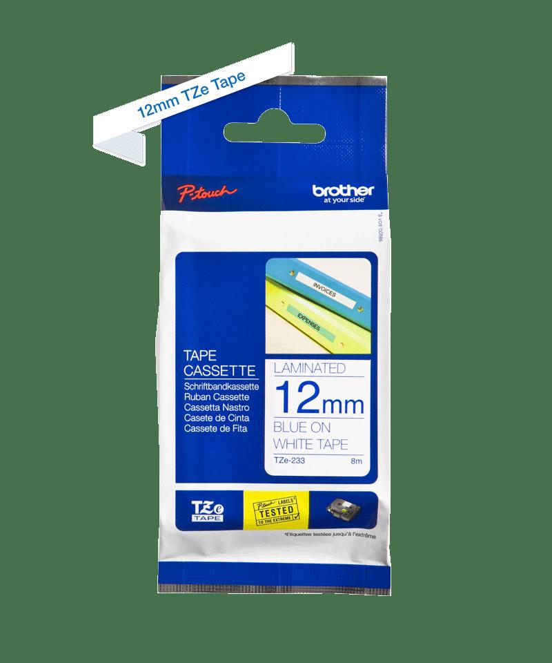 Oriģināla Brother TZe-233 uzlīmju lentes kasete – zilas drukas balta, 12mm plata 2