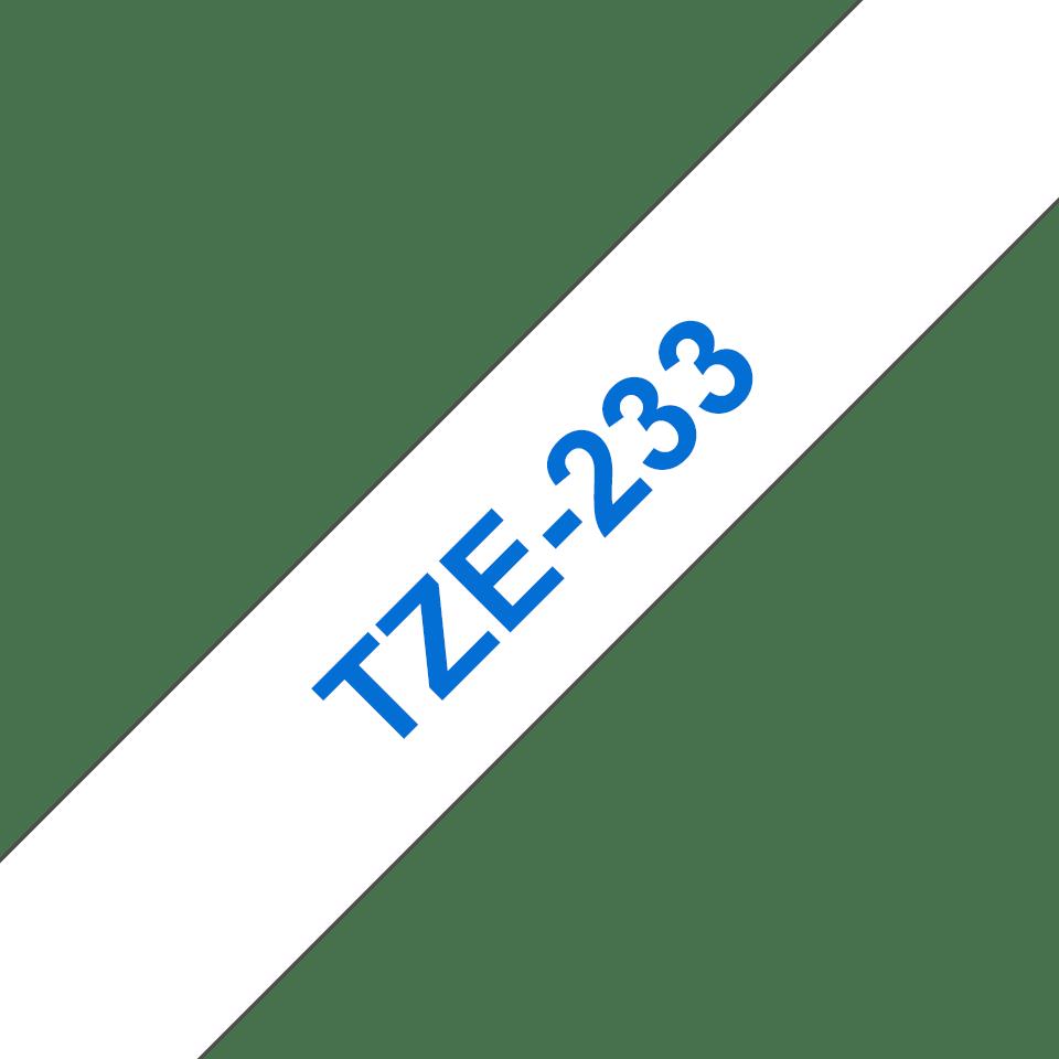Oriģināla Brother TZe-233 uzlīmju lentes kasete – zilas drukas balta, 12mm plata 3