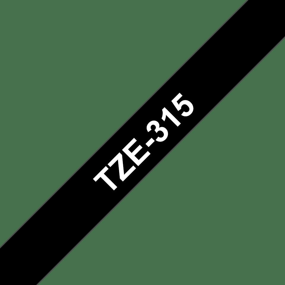Oriģinālā Brother TZe315 baltas drukas melna uzlīmju lentes kasete, 6mm plata