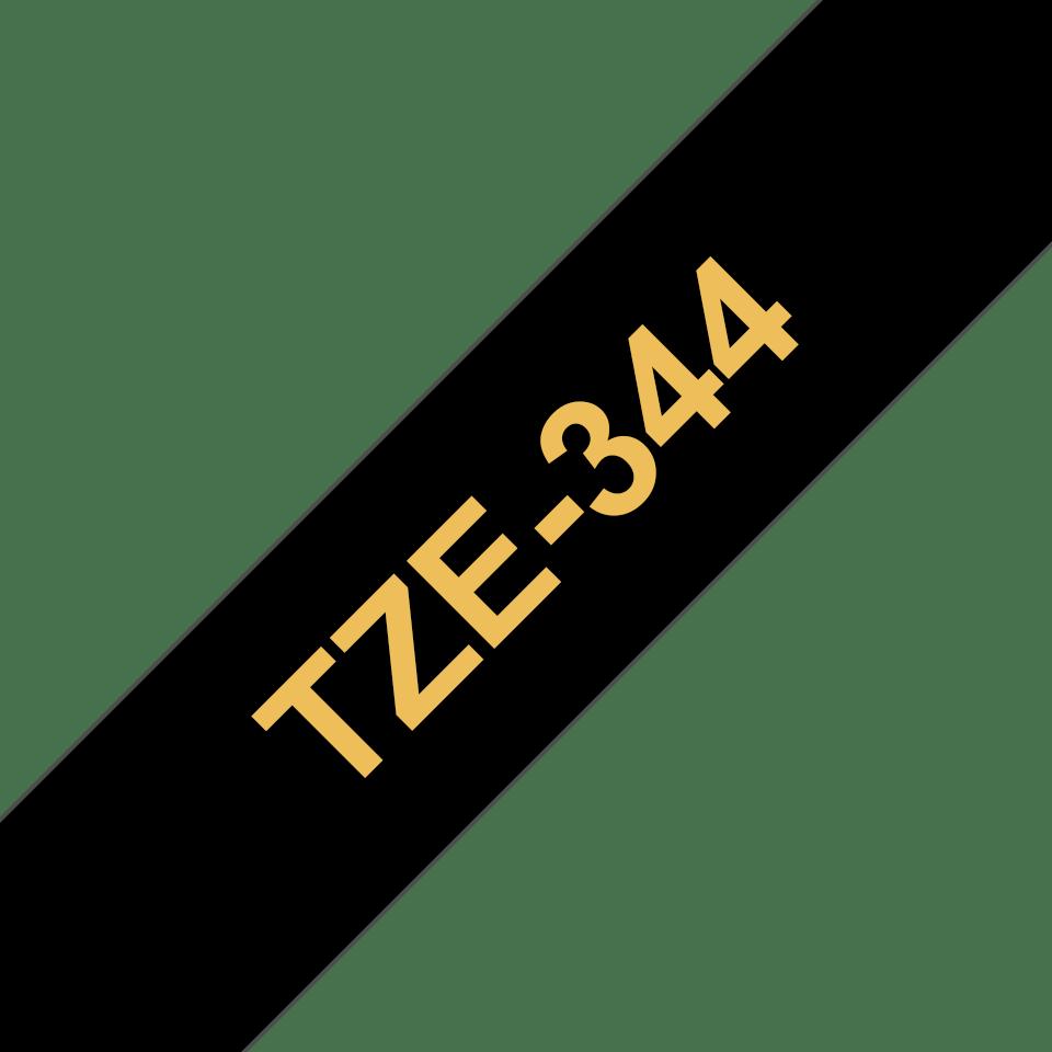 Oriģinālā Brother TZe344 zelta drukas melna uzlīmju lentes kasete, 18mm plata