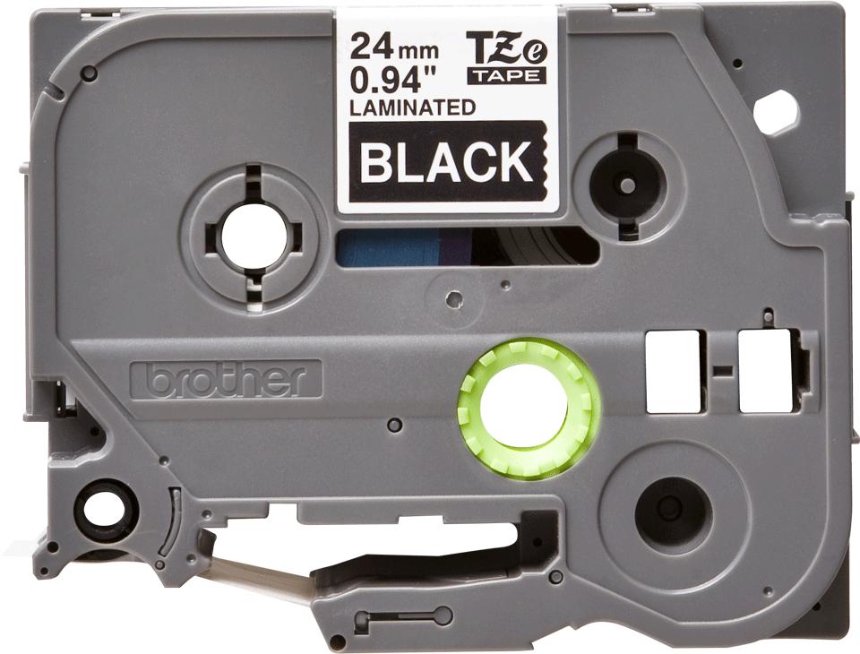 Oriģinālā Brother TZe355 baltas drukas melna uzlīmju lentes kasete, 24mm plata 2