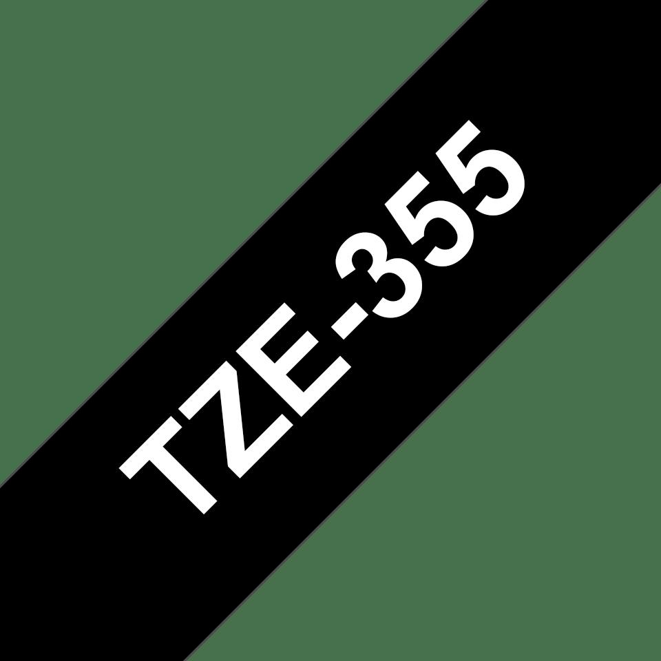 Oriģinālā Brother TZe355 baltas drukas melna uzlīmju lentes kasete, 24mm plata