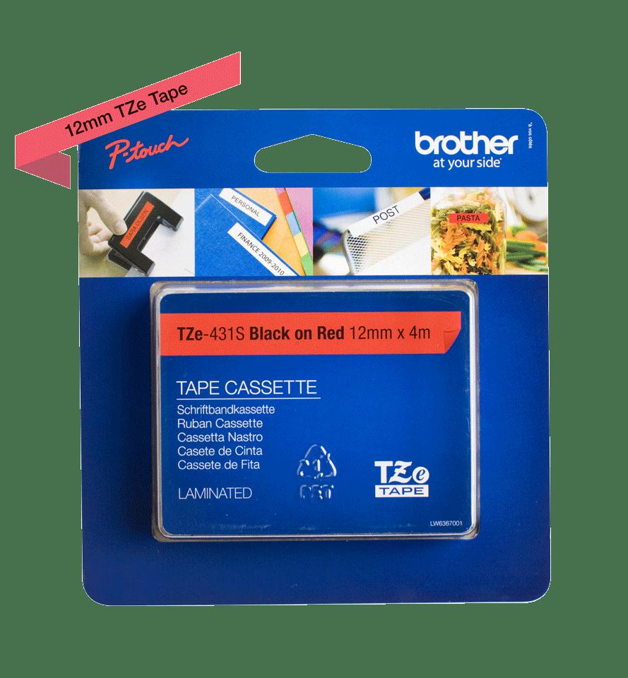 Oriģinālā Brother TZe431S melnas drukas sarkana uzlīmju lentes kasete, 12mm plata 2