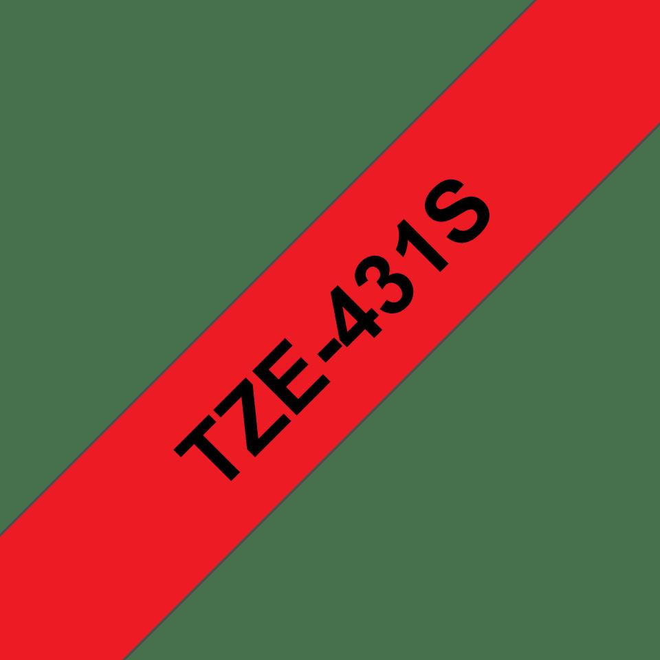 Oriģinālā Brother TZe431S melnas drukas sarkana uzlīmju lentes kasete, 12mm plata 3