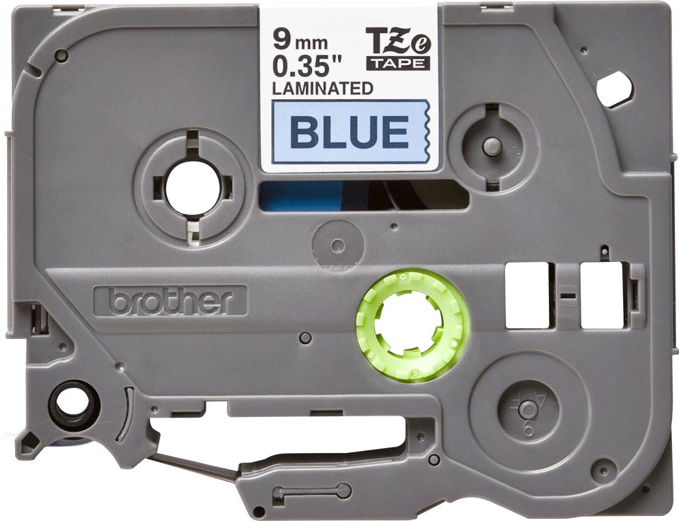 Oriģinālā Brother TZe521 melnas drukas zila uzlīmju lentes kasete, 9mm plata 2