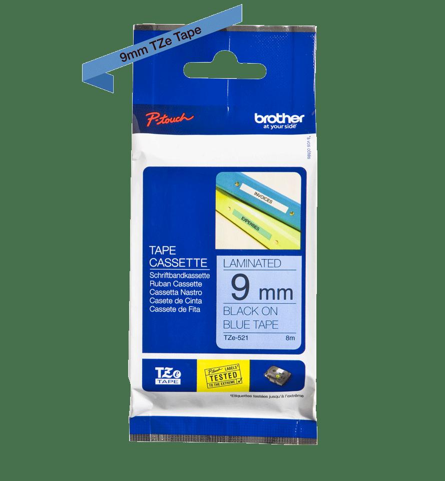 Oriģinālā Brother TZe521 melnas drukas zila uzlīmju lentes kasete, 9mm plata 3