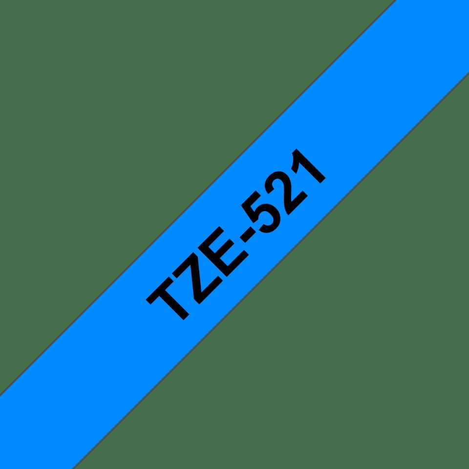 Oriģinālā Brother TZe521 melnas drukas zila uzlīmju lentes kasete, 9mm plata