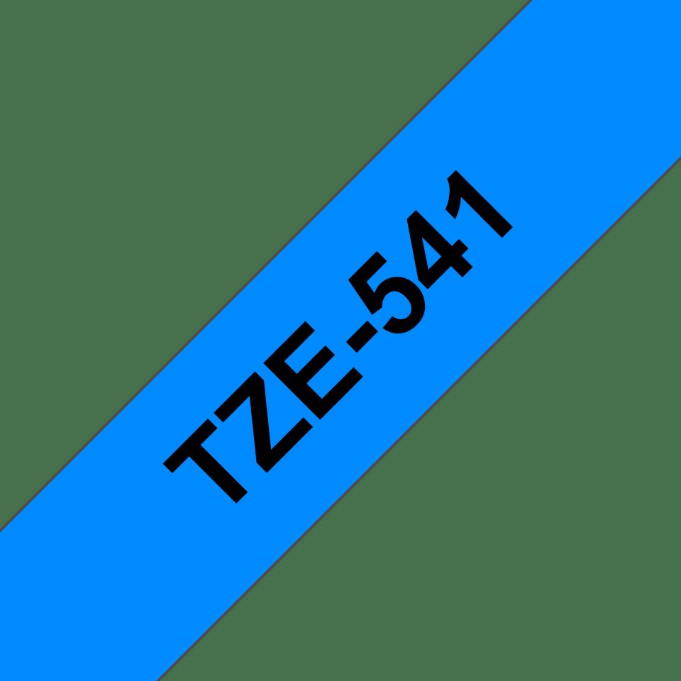 Oriģinālā Brother TZe541 melnas drukas zila uzlīmju lentes kasete, 18mm plata