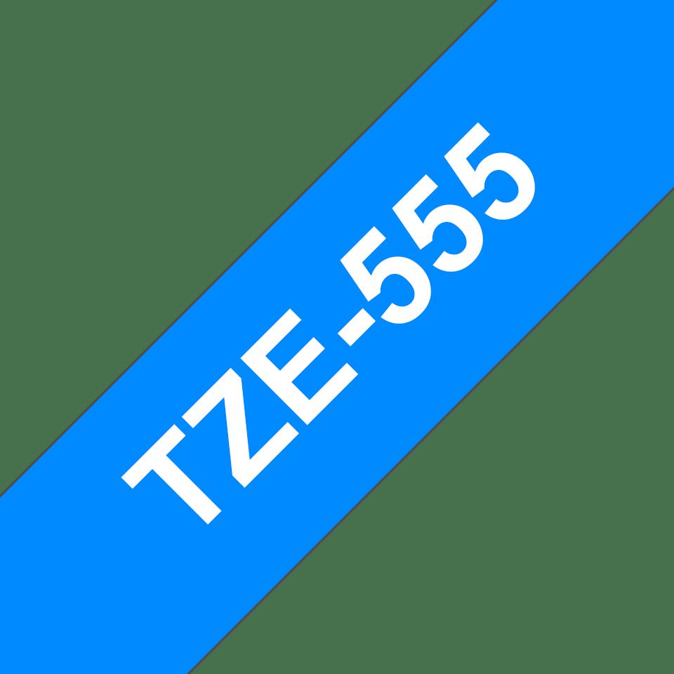 Oriģinālā Brother TZe555 baltas drukas zila uzlīmju lentes kasete, 24mm plata 3