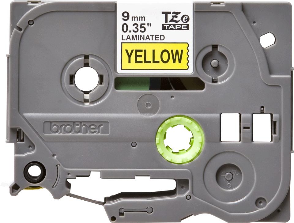 Oriģinālā Brother TZe621 melnas drukas dzeltena uzlīmju lentes kasete, 9mm plata
