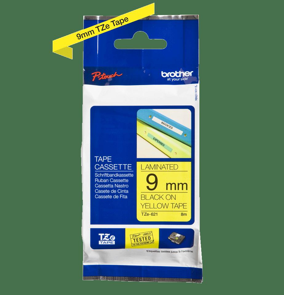 Oriģinālā Brother TZe621 melnas drukas dzeltena uzlīmju lentes kasete, 9mm plata 2