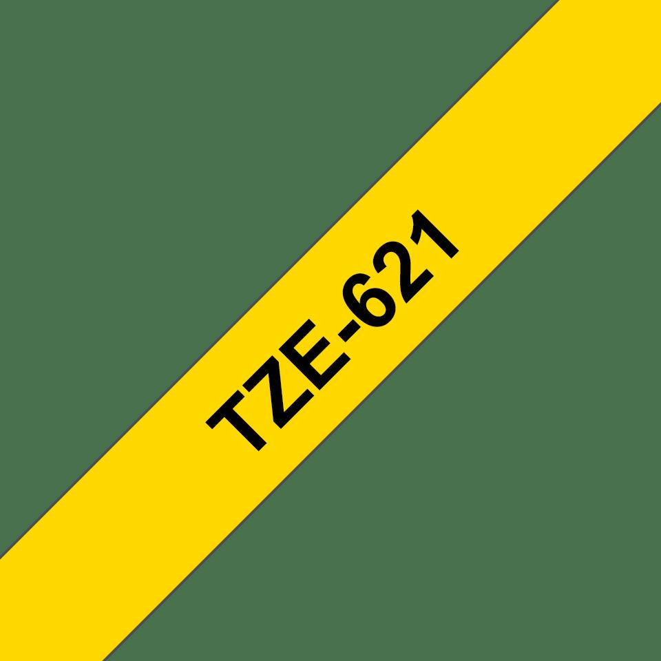Oriģinālā Brother TZe621 melnas drukas dzeltena uzlīmju lentes kasete, 9mm plata 3