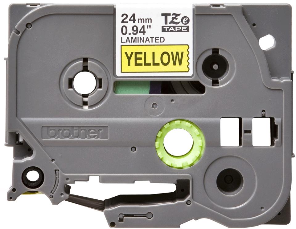 Oriģinālā Brother TZe651 melnas drukas dzeltena uzlīmju lentes kasete, 24mm plata