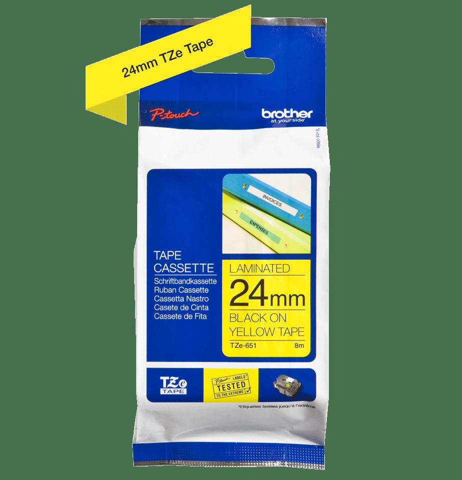 Oriģinālā Brother TZe651 melnas drukas dzeltena uzlīmju lentes kasete, 24mm plata 2