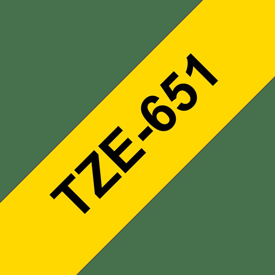 Oriģinālā Brother TZe651 melnas drukas dzeltena uzlīmju lentes kasete, 24mm plata 3