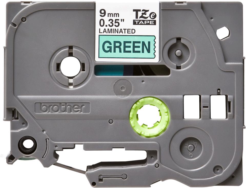 Oriģinālā Brother TZe721 melnas drukas zaļa uzlīmju lentes kasete, 9mm plata