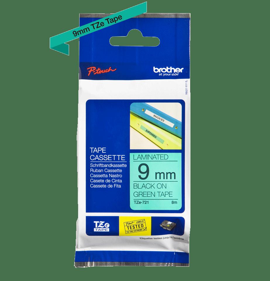 Oriģinālā Brother TZe721 melnas drukas zaļa uzlīmju lentes kasete, 9mm plata 2