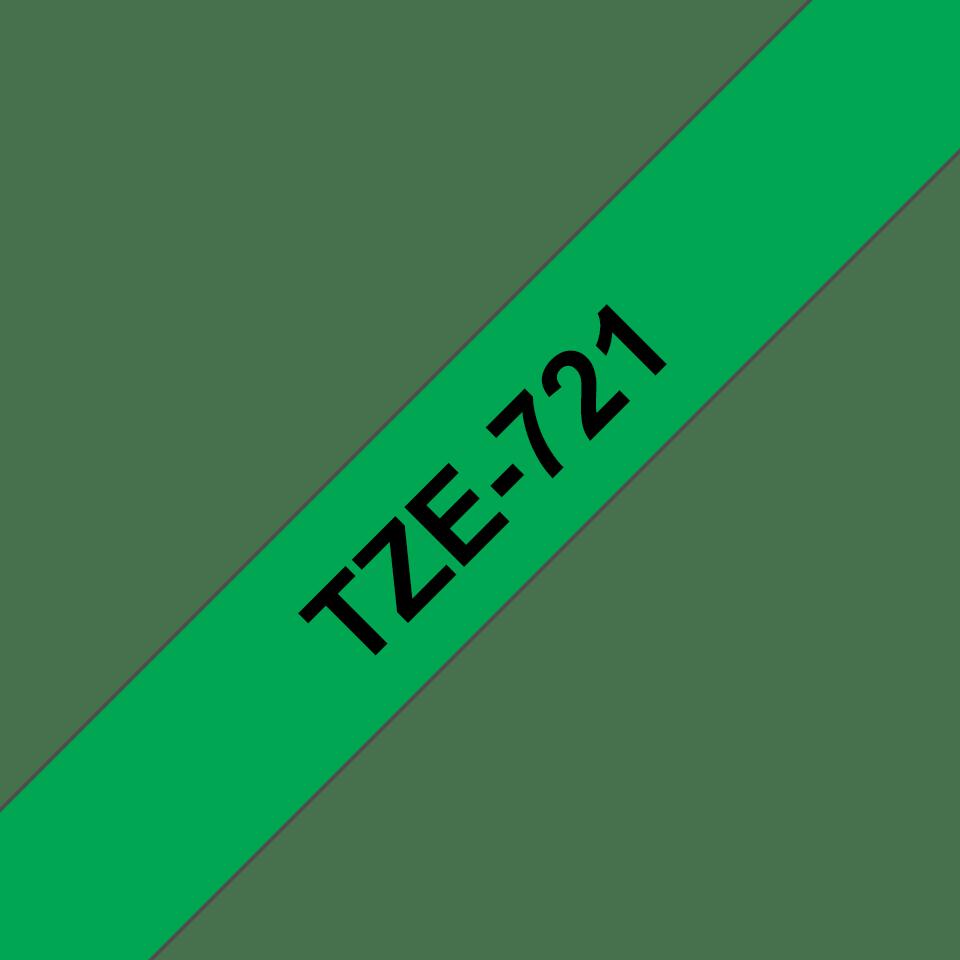 Oriģinālā Brother TZe721 melnas drukas zaļa uzlīmju lentes kasete, 9mm plata 3