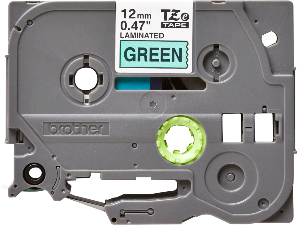 Oriģinālā Brother TZe731 melnas drukas zaļa uzlīmju lentes kasete, 12mm plata