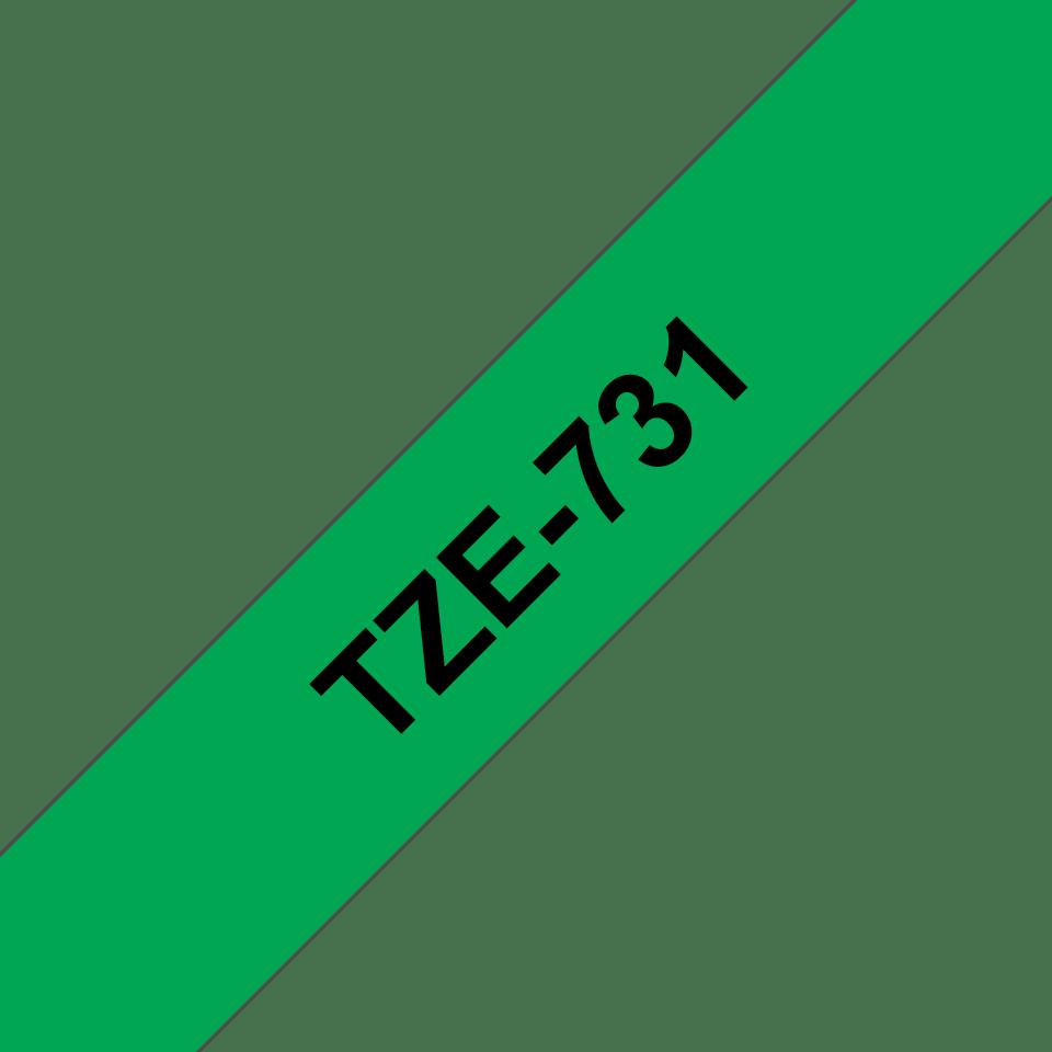 Oriģinālā Brother TZe731 melnas drukas zaļa uzlīmju lentes kasete, 12mm plata 3