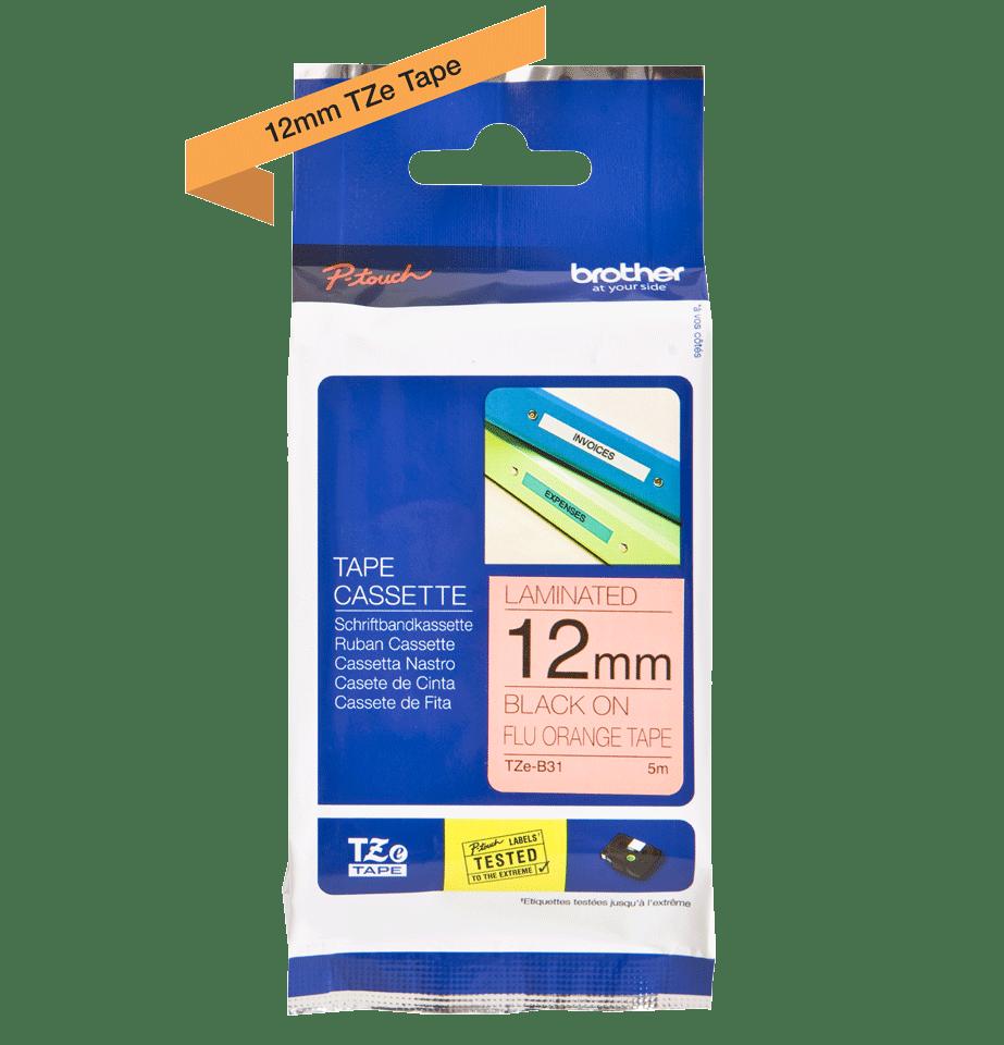 Oriģināla Brother TZe-B31 uzlīmju lentas kasete – fluorescējošas drukas, oranža, 12mm plata 2