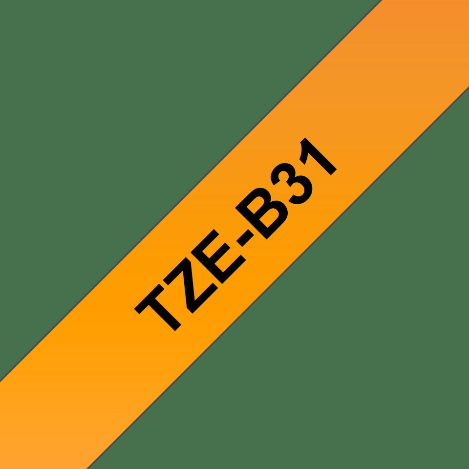 Oriģināla Brother TZe-B31 uzlīmju lentas kasete – fluorescējošas drukas, oranža, 12mm plata 3