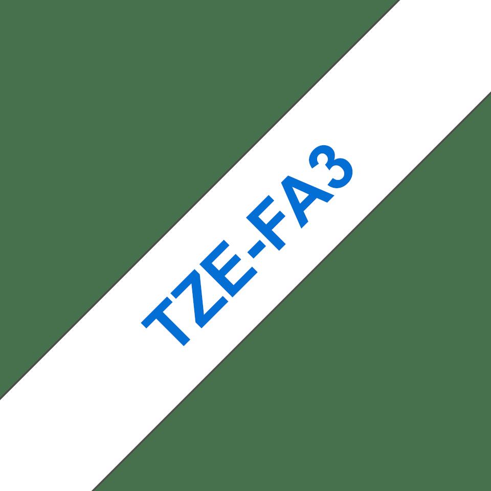Oriģinālā Brother TZe-FA3 auduma lentas kasete – zilas drukas, balta, 12mm plata 3