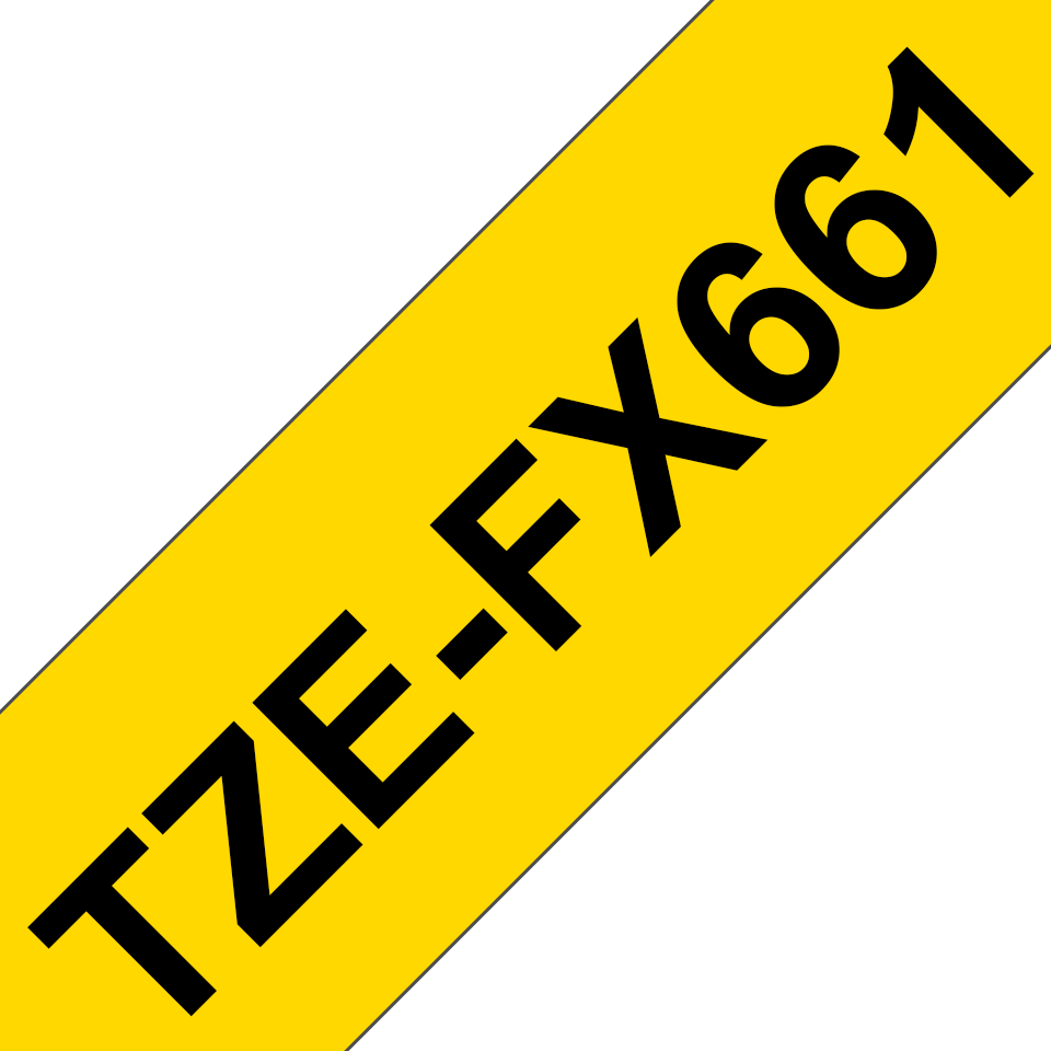 Genuine Brother TZe-FX661 Labelling Tape Cassette – Black on Yellow, 36mm wide 3